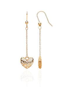 9ct Gold Filigree Heart Drop Earrings