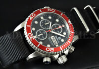 NEW DEEP BLUE 40mm RED Bezel Black Dial Diver 1000 SAPPHIRE Watch w/ Extra Strap
