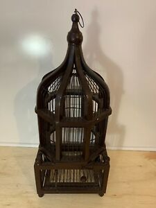 Vintage Antique Wood & Metal Bird Cage | Finches | Wrens | Hanging with Door