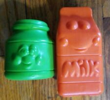 Vintage Fisher Price? Little tikes? Pretend Food w Faces Milk Cartoon Jelly jar