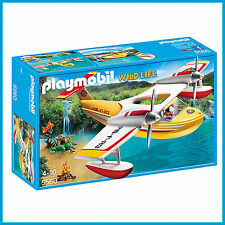 NEW PLAYMOBIL WILD LIFE COUNTRY FIRE FIGHTING SEAPLANE with PILOT 5560