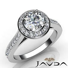 1.7ct Halo Bezel Set Round Diamond Engagement Ring GIA F VVS2 14k White Gold