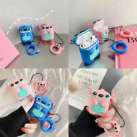 For Apple AirPods 3D Stitch Headphone Silicon Case Protector Covers Keychain