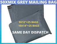 50 MIXED SIZES Grey Postage Poly Postal Mailing Bags Sacks Envelopes Self Seal