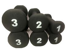 Sets of Neoprene Covered 1lb 2lb 3lb Hand Weights Dumbbells Black 12 lbs Total