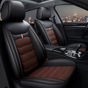 Universal Car Seat Cover Front Rear Seat Cushions PU Leather Pad Black Brown