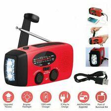 Dynamo Wind Up, Solar, & USB Rechargeable Hand Crank Portable AM FM Radio LighN#