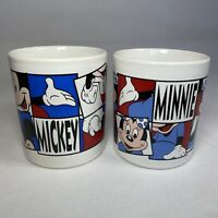 Vintage KilnCraft Disney Minnie And Mickey Mouse Ceramic Pair Mugs Cups VGC
