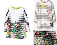 EX-BODEN GIRLS FLORAL OR STAR STRIPE TUNIC DRESS BNWOT AGES 2-12