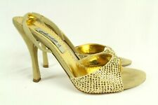 Claudio Milano Vero Cuoio Womens Sandal Beige Suede Crystal Size 36 Italy