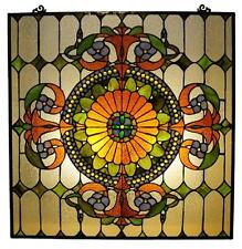 "Stained Glass Chloe Lighting Victorian Window Panel 25 X 25"" Handcrafted New"