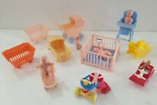 Vintage Plastic Dollhouse Nursery Furniture Baby Renwal Acme 16 pieces