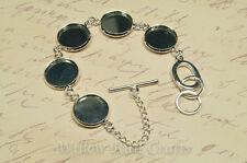 Set of 10 Silver Plated 5 Bezel Bracelets 16mm Size with 50 16mm Glass Cabochons