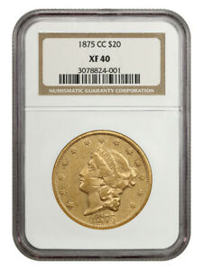 1875-CC $20 NGC XF40 - Popular CC-Mint Issue - Liberty Double Eagle - Gold Coin