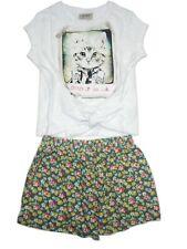 NEXT GIRLS' Khaki Ditsy Shorts And Crop Cat T-Shirt Set 4 YEARS BNWT