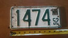 NEW HAMPSHIRE License Plate 1952 NH1474