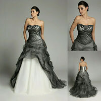 New Black/White Organza Strapless Wedding Dress Train Bridal Ball Gown Size UK