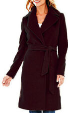 NEW! Women's Liz Claiborne Belted Wrap Wool Blend Trench Coat, Burgundy Wine - M