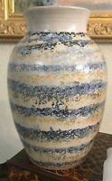Vintage/Antique Handmade Pottery Art Vase Handpainted Swirls Of Blue and Yellow