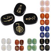 Engraved Usui Reiki Symbol Palm Pocket Stones Healing Chakra Crystals 4 Pcs/Set