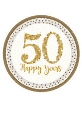 50th Golden Anniversary Paper Party Plates Pk8