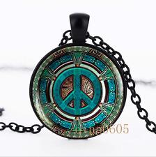 Hippie necklace photo Glass Dome black Chain Pendant Necklace wholesale