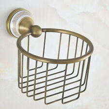 Antique Brass Bathroom Wall Mounted Toilet Paper Roll Holder Tissue Basket