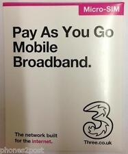 THREE 3 Micro Sim Card Pay As You Go Mobile Broadband Data Internet - BRAND NEW