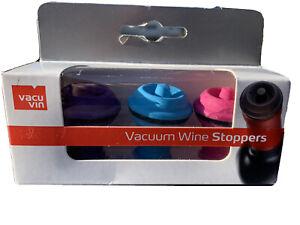 Vacu Vin Wine Saver Vacuum Stoppers Set of 3- Blue/Pink/Purple