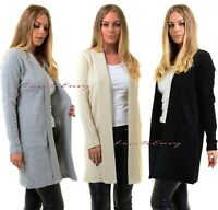 Ladies NEW Open Front Cardigan Casual Long Sleeve Smart Jacket Sweater Coat Top.