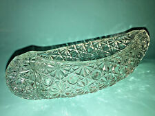CRYSTAL CANOE Boat CANDLE HOLDER Starburst DISH Antique CUT GLASS Candy VINTAGE