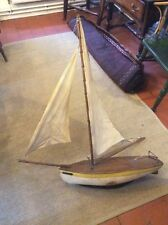 Vintage Antique Large Model Yacht Pond Yacht Scratch Built Heavy Wide Model