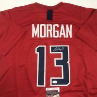 Autographed/Signed ALEX MORGAN Red Team USA Soccer USWNT Jersey JSA COA Auto