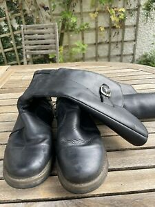 Womens FLY LONDON Black Leather Knee High Wedge Boot Uk Size 7 Eu 40