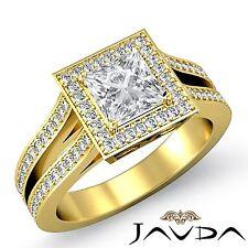 Halo Pre-Set Princess Diamond Engagement Ring GIA F VS2 18k Yellow Gold 2.4ct