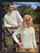 c1960s Knitting Pattern: Patons 5082: His & Hers Aran Jumpers