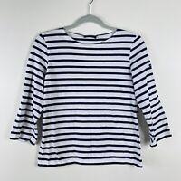 Saint James Size 34 XS Striped Breton 3/4 Sleeve Tee Top Blue White 100% Cotton