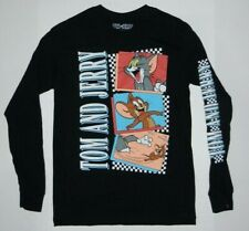 Tom and Jerry  Graphic Checkered Long Sleeve T-Shirt Black New
