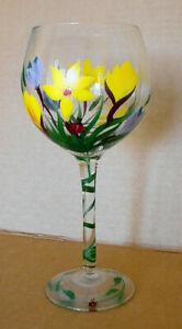 Vintage Hand Painted Yellow Flowers Wine Goblet Glass