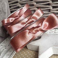9, 15, 25, 38mm Rose Gold Metallic Satin Ribbon. Christmas Wedding Card Wrap Bow