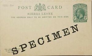 O) SIERRA LEONE, SPECIMEN, KING GEORGE V, POSTAL STATIONERY 1/2p green, UNUSED