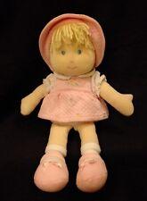 "Carters Blonde Doll Flowers Pink Dress Hat Blue Eyes 13"" Plush Blonde Soft Toy"