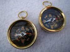 2 x Brass Pocket Compass - Necklace Pendant -Old Vintage Antique Style -Nautical