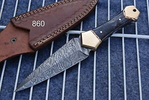 Custom Handmade HAND FORGED DAMASCUS STEEL Hunting DAGGER Boot Knife +sheath