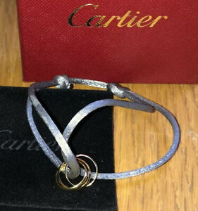 Cartier Trinity Corde Bracelet, 18ct Three Colour Gold On Grey Cord