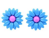 1.5cm 3D blue enamel daisy stud earrings