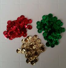300 round Christmas sequin shine craft art fun card making green red gold