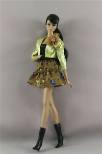 3in1 Set Fashion Jacket Top Outfit +Flower Skirt +Boots For 11.5 in.12 in. Doll