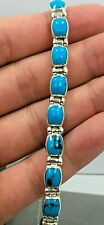 MEXICAN 950 FINE STERLING SILVER TURQUOISE BRACELET LINK