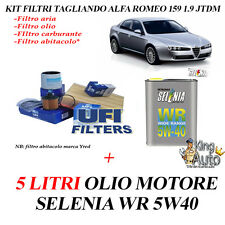 KIT TAGLIANDO 4 FILTRI  + 5 LITRI OLIO SELENIA ALFA ROMEO 159 1.9 JTDM